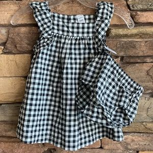Black White Gingham Dress Bloomers 24 months